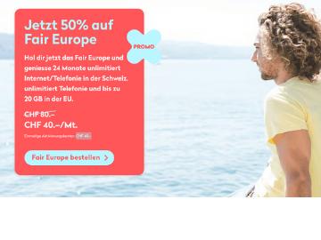 Jetzt 50 % Rabatt auf Fair Europe Abo bei Wingo: statt CHF 80.- nur CHF 40.-